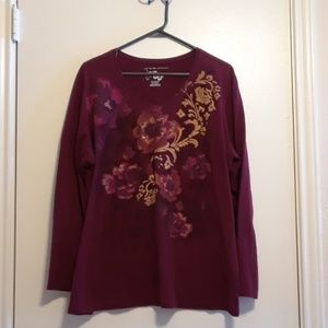 Burgandy w/sparkle - long sleeved t-shirt size 2x